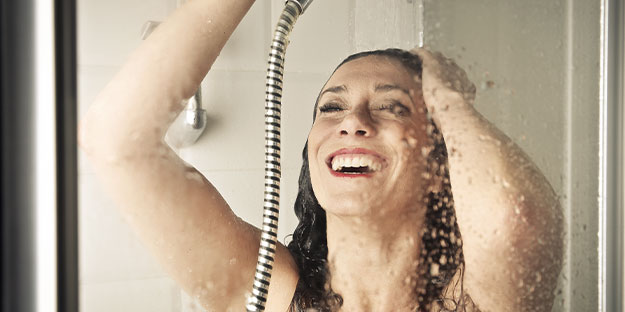 clean beauty products-woman in the shower