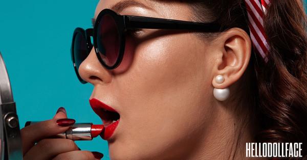 Best Mac Lipsticks For Everyday Wear Woman Applying Bright Red Lipstick